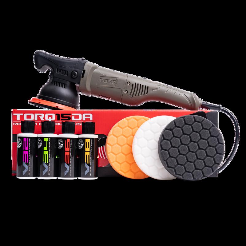 TORQ TORQ15DA 15mm Long-Throw Random Orbital Polisher Kit (8 Items)