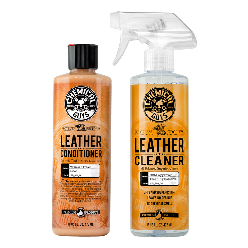 Leather Cleaner & Conditioner Complete Leather Care Kit, 16 oz (2 Pack)